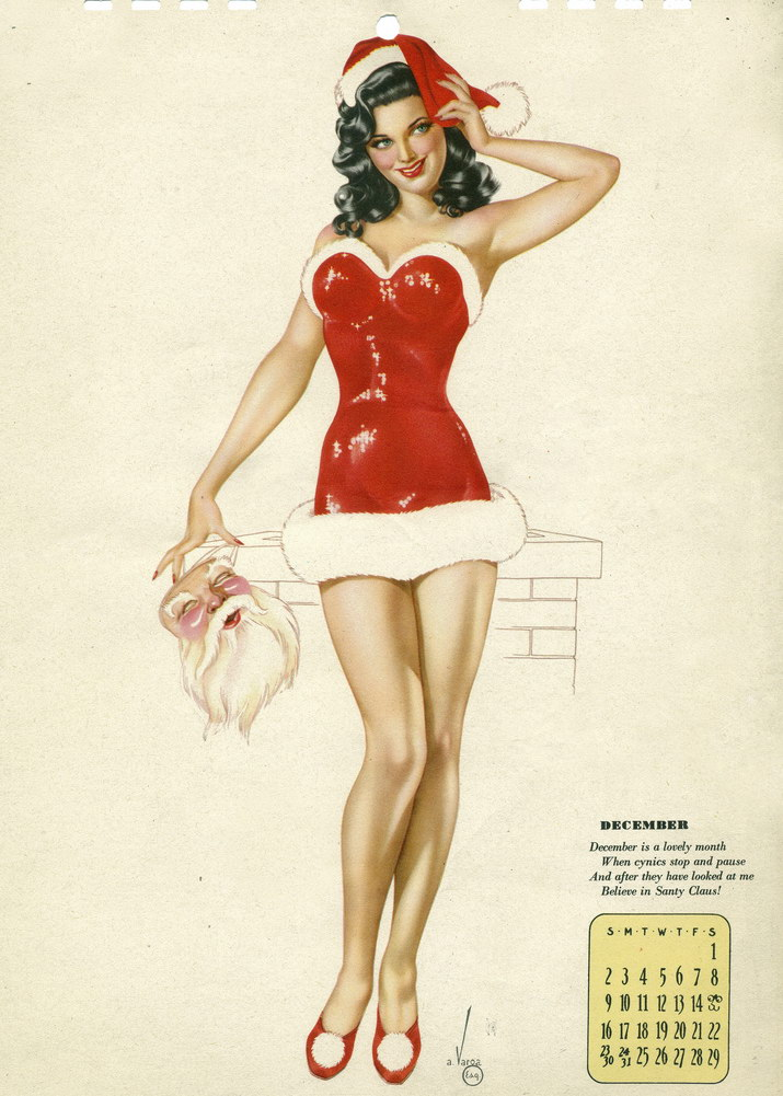 Pin Up Calendar Vintage : Merry christmas from december pin up and cartoon
