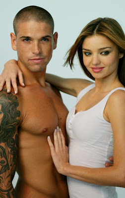 Tattooed Man Photographed With A Pretty Supermodel Miranda Kerr