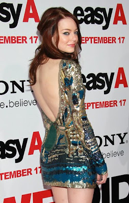 RedHead Emma Stone Beautifull In Apparel With Open Back