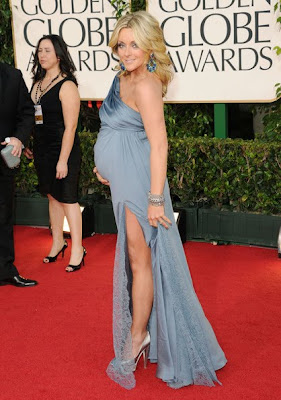 Jane Krakowski Lovely In A Cornflower Blue Lace By Badgley Mischka