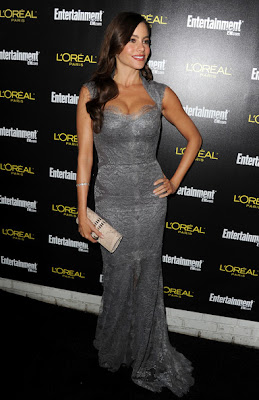 Sofia Vergara Lovely In A Smoky Gray Curve Lace