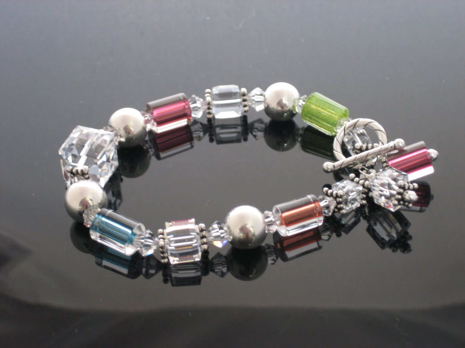 Swarovski and Cane Glass Bracelet designed by Judy Corning - Bead World