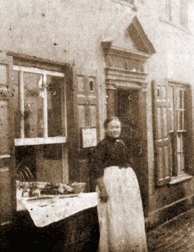 My Great-Grandmother Adelaide outside 24 Tamar Street, Early 1900's