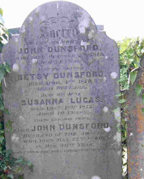 John Dunsford Family Headstone at St Stephens