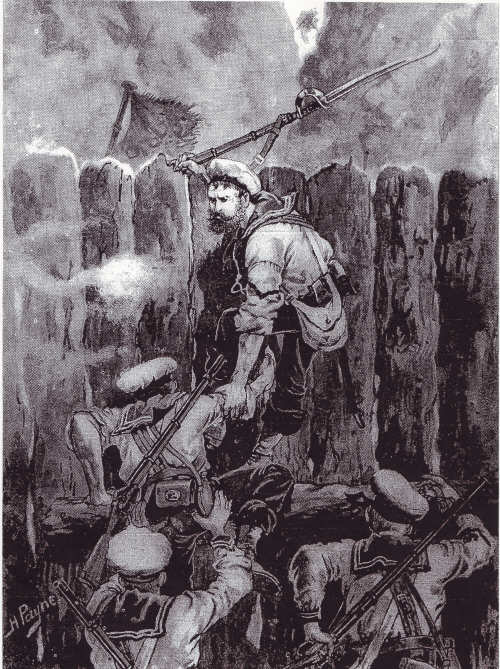 William Odgers Climbing the Stockade at Kaipopo Pa - An Artist's Impression By Harry Payne (1900)
