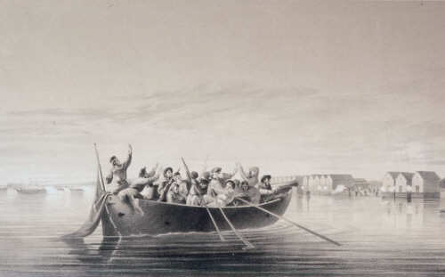 Seamen From HMS Vulture Under Attack at Halkokari June 7 1854 - Vladimir Swertschkoff Lithograph