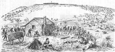 Drawing of Waireka Battle from Perspective of the Jury Farmhouse Showing Elevation of Kaipopo Pah