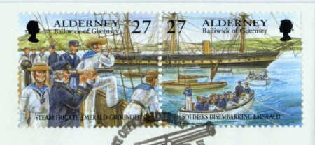 Postage Stamps Issued in 2001 Depicting the Grounding of HMS Emerald 28th August 1860