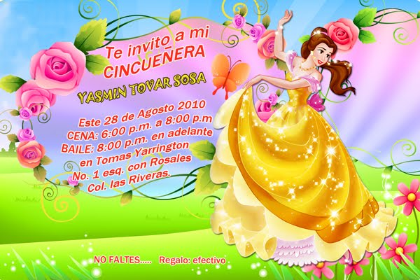 INVITACIONES DIGITALES  Princesas Dragon Ball Z Campanita Bob Esponja
