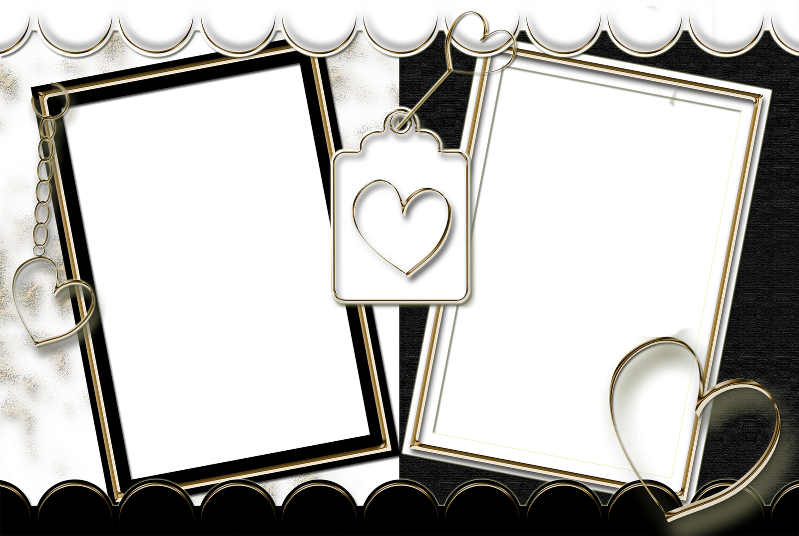 Double Heart Frame Transparent