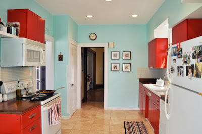 Aqua And Red Kitchen Accessories Design Ideas
