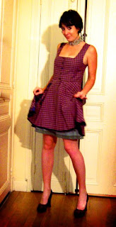 Plaid tartan pinup dress by French designer