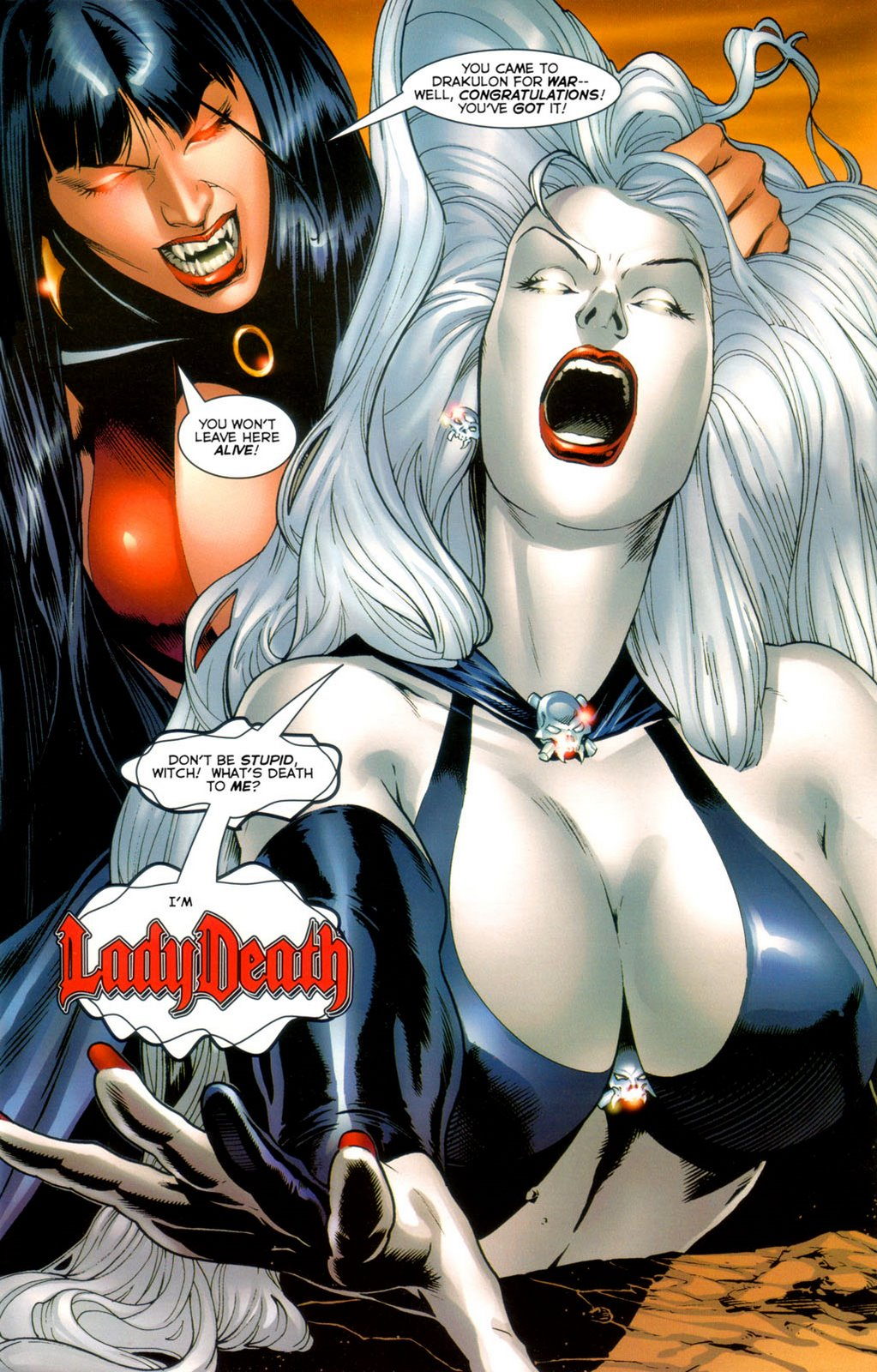 Vampirella naked on lady death cartoon pic