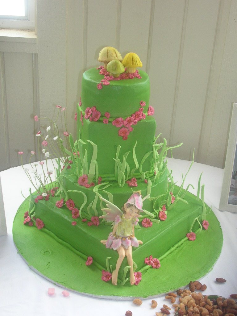 fairy and mushroom garden theme birthday cake - Garden Design Birthday Cake