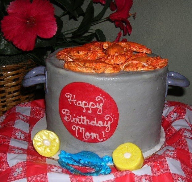 Salmon Birthday Cake: Sweet T's Cake Design: Crab Steam Pot Sculpted Birthday Cake
