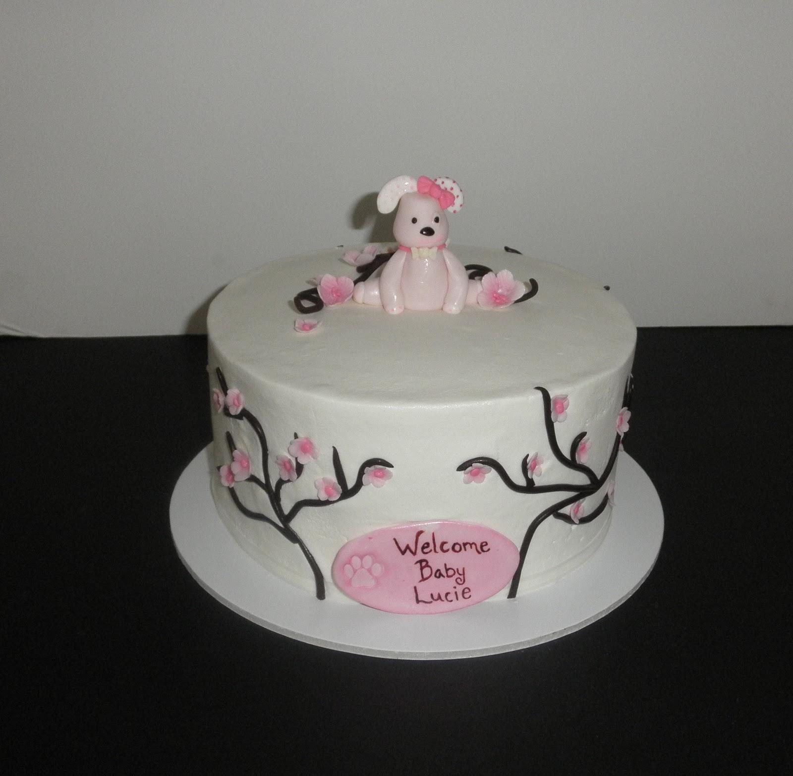 Sweet T s Cake Design Cherry Blossom Pink Puppy Baby Shower Cake