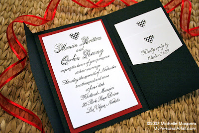kristan wanted a custom invitation for her hartland mansion wedding in las vegas i could not resist on the checkerboard heart as the motif - Las Vegas Wedding Invitations