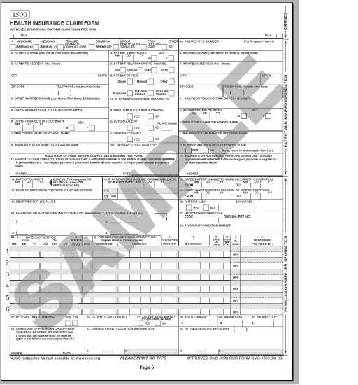 SAMPLE CMS - 1500 form | CMS 1500 claim form and UB 04 form ...