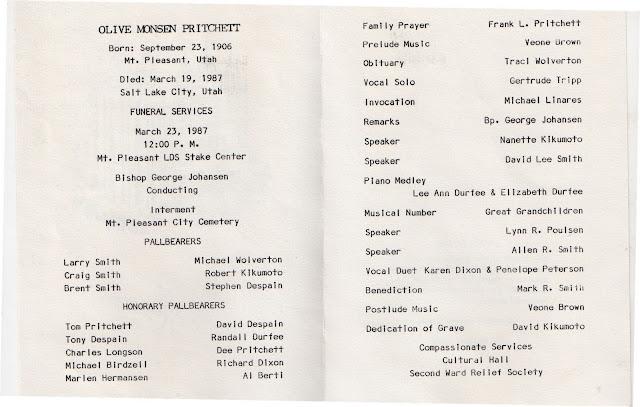 mt pleasant obituary page olive monsen pritchett funeral program