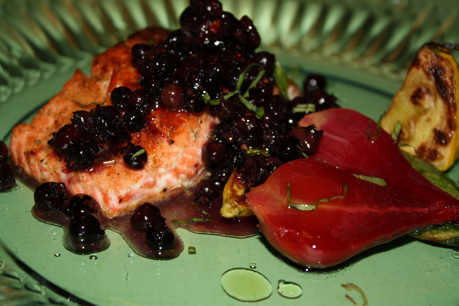 Salmon with Wild Blueberry Salsa and Roasted Beets