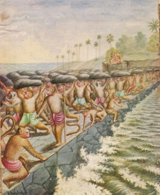 Vanaras constructing the setu