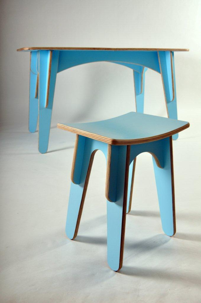 Flat-packable plywood stool