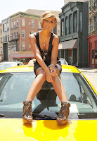 Frankie Sandford on set of video shoot
