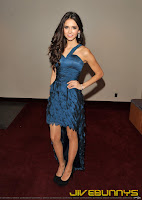 Nina Dobrev in a blue dress