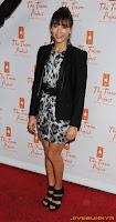 Rashida Jones black and white dress