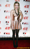 Emily Osment little gold dress