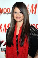 Selena Gomez in black and red