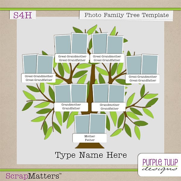 Purple Tulip Designs Photo Family Tree Template