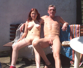 dad and girl on nude beach