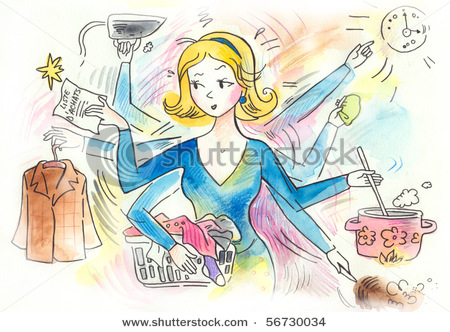 woman cleaning and cooking
