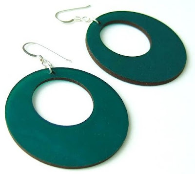 Aroha Silhouettes jewellery made from recycled vinyl records - vibrant green Contour earrings