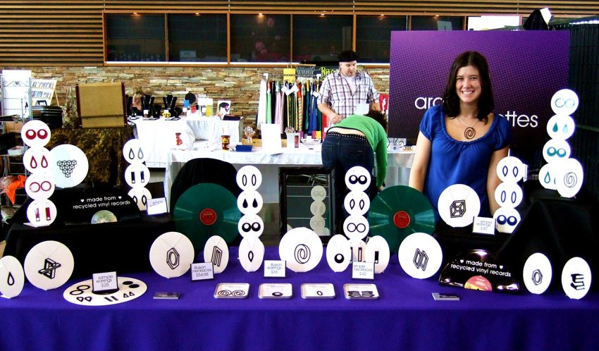 Aroha Silhouettes craft show display setup - purple black and white display at Portobello West Vancouver - full 8ft table display