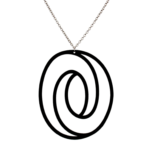 Aroha Silhouettes black Eclipse reclaimed vinyl record necklace - Artful Goods Portland