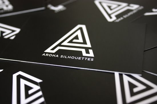 Aroha Silhouettes 2010 Business Cards Front Black and White