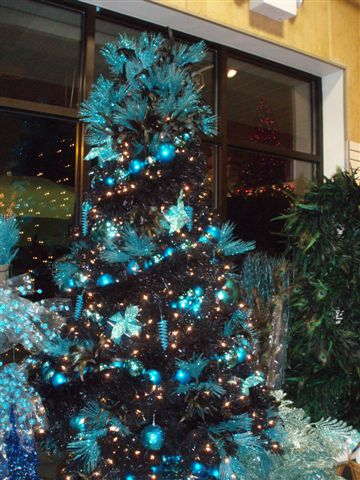 Black Tree with Teal Decor - taken by Karen