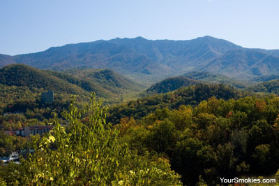 Great Smoky Mountains Mount Le Conte can be seen from as far away as Sevierville, Pigeon Forge and Gatlinburg Tennessee