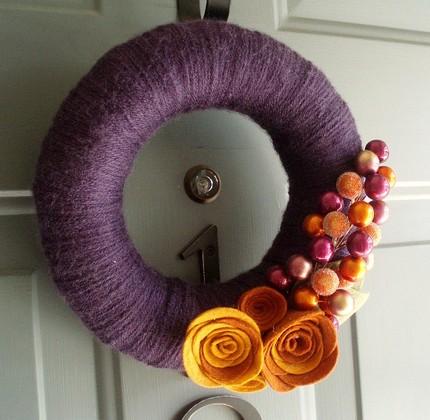 Yarn Wreath Felt Handmade Door Decor- Berrylicious by Etsy seller ...