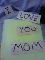 written message of I love mom