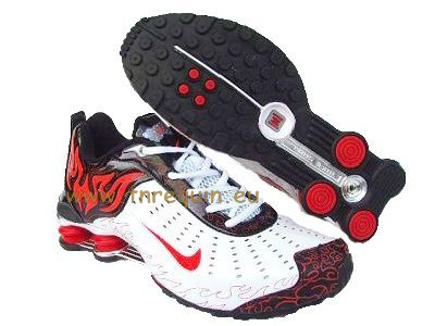 nike chaussures: Nike Shox Torch Trainer en Blanc et Rouge