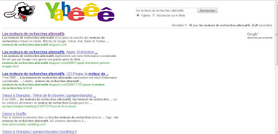 print screen du moteur de recherches yabeee