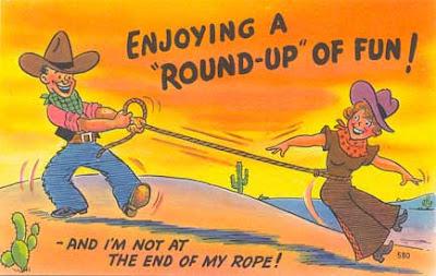 cowboy cowgirl comic postcard
