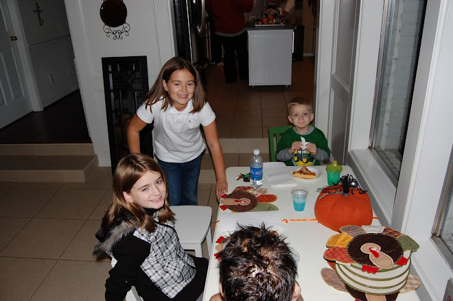 The kids getting ready to eat