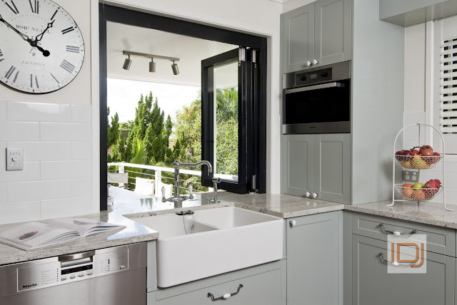 Grey French Provincial Kitchen with farmhouse sink via @natashainozblog
