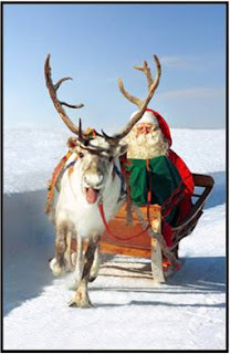Pai Natal passeia no seu trenó