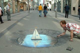 Desenho barco à vela - Desenhos tridimensionais na calçada - Giz - Julian Beever