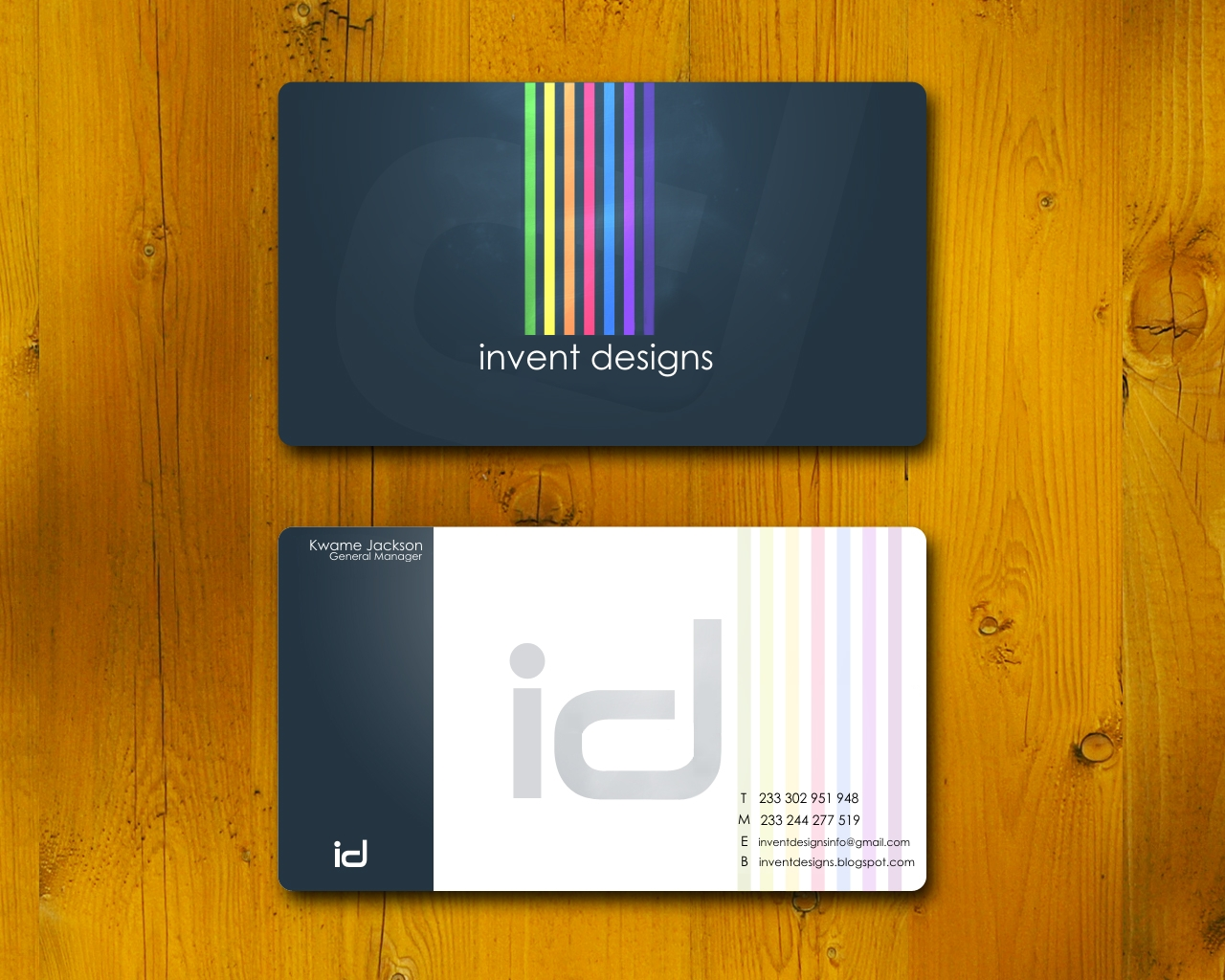 welcome to invent designs we at your service business card sample